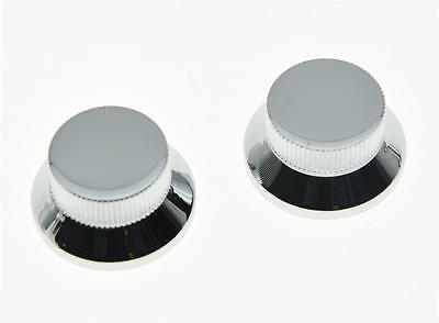 2pcs Chrome Metal Top Hat Bell Knobs Push On Guitar Bass Knob for 5.8mm Pots