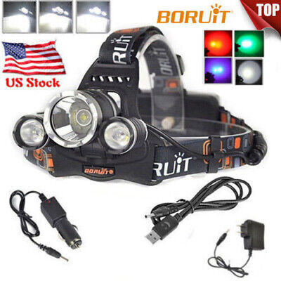 50000lm 3XM-L L2 LED Headlamp Rechargeable Flashlight Head Light 2x18650 Charger