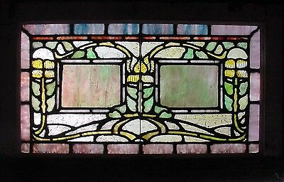 Antique American Stained Glass Transom, most likely from Rudy Bro. Studio's