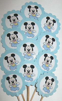 Boy  Baby Shower  Cupcake Toppers/Party Picks  Item #707 Mickey Mouse