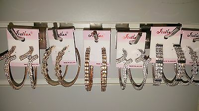 Joblot of 12 Pairs 6 cm Sparkly Diamante big Hoop Earrings - NEW Wholesale Lot B