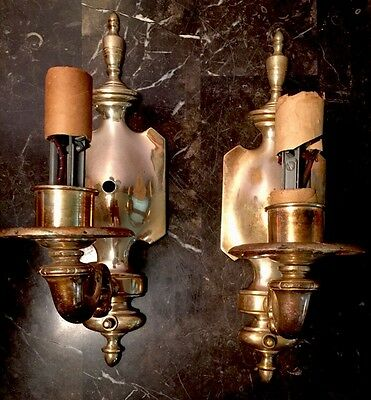 Brass Wired Pair Antique Sconces Vintage Electric Candles