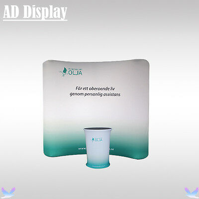 8ft*7.5ft Premium Curved Tension Fabric Advertising Display Wall With Oval Table