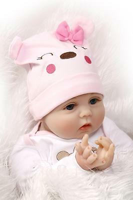 "Fast Shipping Lifelike Reborn Baby Doll 22""  Vinyl Girl Baby Kids Playmate"