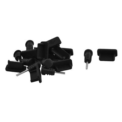 Silicone Earphone Charger Dock Port Anti Dust Cap Black 10 Set for Type C Phone