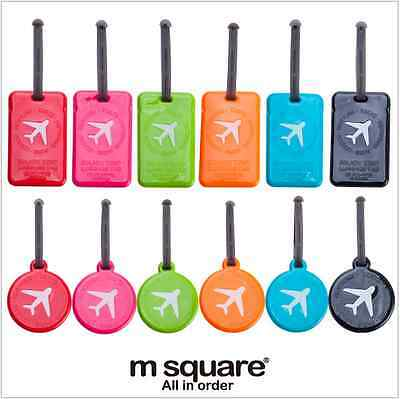 Plastic Luggage Tags Silicone Colorful Jelly Round Square Suitcase Id Label Tag