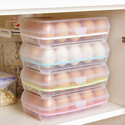 15 Eggs Holder Food Storage Container Plastic Refrigerator Egg Storage Box