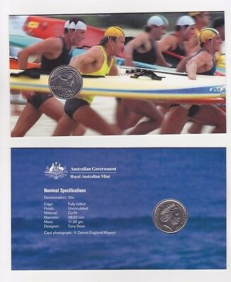 2007 AUSTRALIAN YEAR OF THE SURF LIFESAVER 20c CARDED COIN UNC RAM