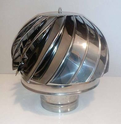 CHIMNEY SPINNER COWL Stainless Steel Wind Rotating Cap INOX to fit 4''/100mm