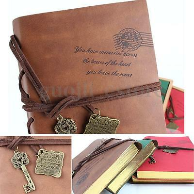 Retro Classic Vintage Leather Bound Blank Pages Journal Diary Notebook US