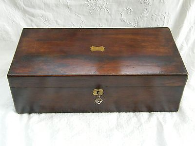 Antique-Victorian-Large Flame Mahogany Writing Box With Lock & key-circa 1880's