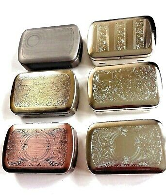 Metal Chrome Tobacco Tin 1oz with Paper Holder Choice of 6 Designs