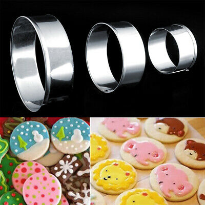 1Set Stainless Steel Round Circle Shaped Cookie Cutter Biscuit Pastry Molds