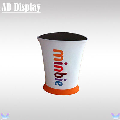 Portable Triangle Stretch Fabric Trade Show Promotion Table With Banner Printing