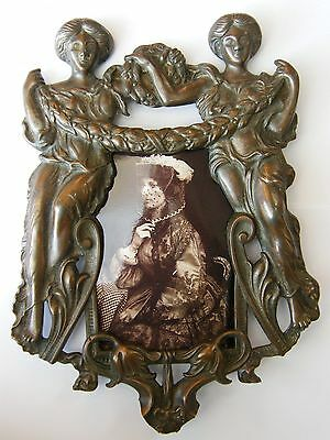 Antique-Hand Crafted Solid Bronze Picture Frame With Grecian Ladies-circa 1880's