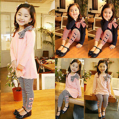 2PCS Child Kids Baby Girls Long Sleeve Bow Dress T-Shirt Tops+Pants Outsuits Set