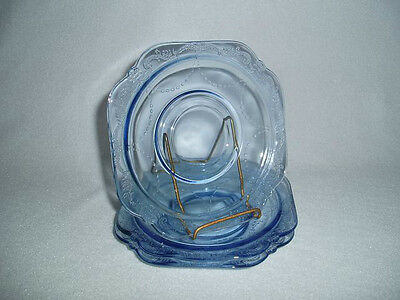 3 BLUE MADRID Indiana Reproduction of Federal Depression Glass Saucers Free Ship