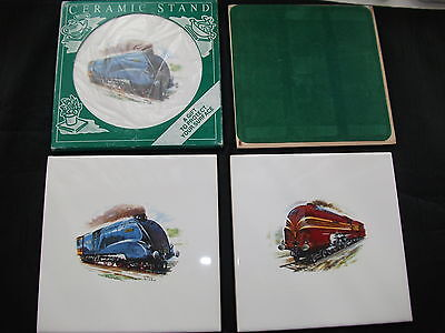 4 x Heatproof Ceramic Stands with Pictures of Steam Trains - New & Unused