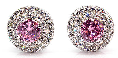 Sterling Silver Pink Sapphire & Diamond 1.56ct Stud Earring (925)
