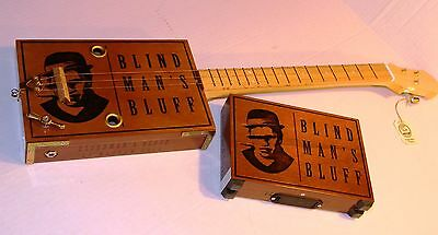 Busker 3 String CBG with Amp Short Scale Fretted Cigar Box Guitar Acoustic/Elect