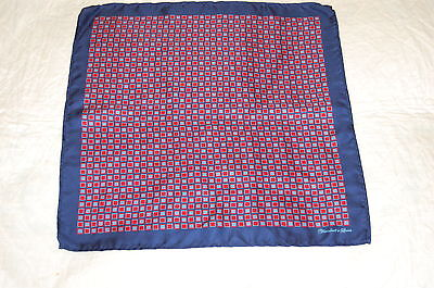 Mens Turnbull And Asser Navy And Red Pocket Square/handkerchief. New