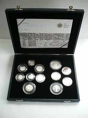 RARE 2009 ROYAL MINT SILVER PROOF COIN SET - £5 to 1p  - KEW GARDENS 50P