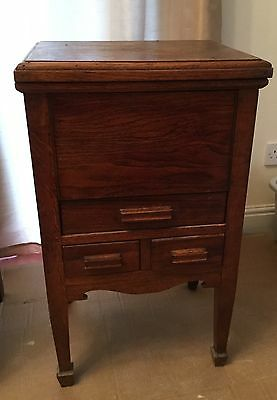 ANTIQUE VINTAGE 1930's SOLID WOOD SEWING / KNITTING CABINET