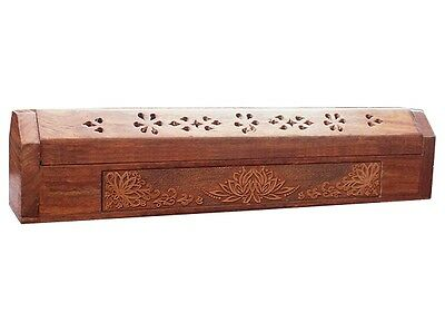 FindSomethingDifferent Engraved Wood Incense Holder Storage Box Lotus Flower