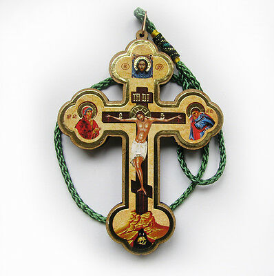 RUSSIAN WOOD ORTHODOX ICON CROSS, ICON CRUCIFIX  for CAR