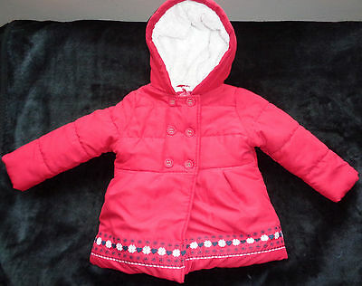 Mothercare Red Girls winter button up hooded Coat jacket 18-24 Months upto 92 cm