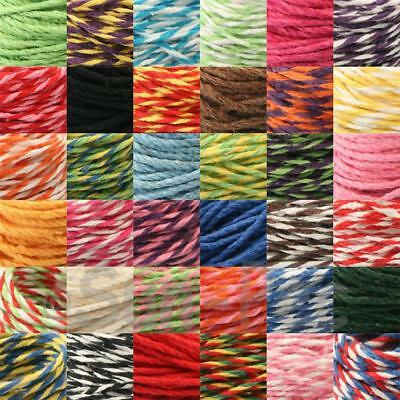 8/12ply Country Craft DIY Twisted Colorful Cotton Bakers Twine Rope Cord 5-50yd