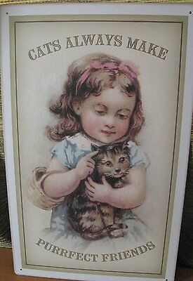 """Vintage Metal Tin """" CATS ALWAYS MAKE PURRFECT FRIENDS"""" Sign"""