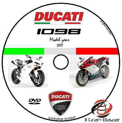 Manuale Officina Ducati 1098 1098 S My 2007 Workshop Manual Service Cd Dvd