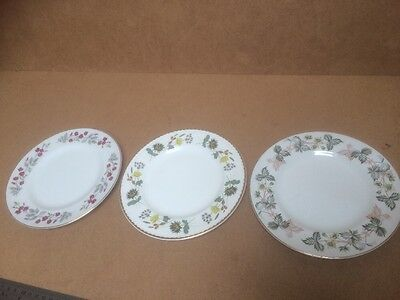 Trio Vintage Floral Pattern Plates By John Maddock & Son