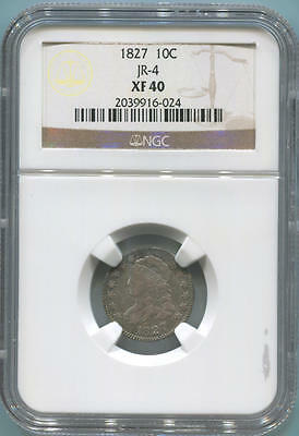 1827 Draped Bust Dime. JR-4. NGC XF40