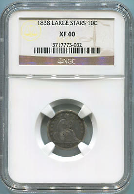 1838 Large Stars Seated Liberty Dime. NGC XF40