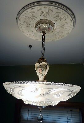 Antique Vintage Victorian  Deco Porcelier Ceiling Light Fixture Chandelier