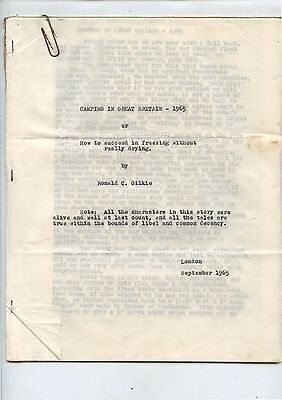 Old Sept 1965 Typed Letter Camping in Great Britain by Ronald Gilkie