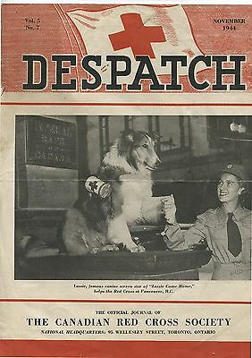 Old Nov 1944 Canadian Red Cross Despatch Magazine Lassie on Cover