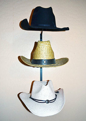 Hat Display Rack - Black Metal Wire for 3 Cowboy Hats  or Fedoras