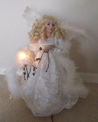 "Porcelain Christmas Angel  Doll 19"" Tall Electrically Operated"