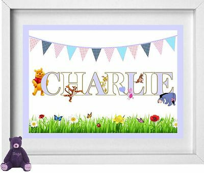 BABY NAME | Personalised Nursery Picture | Winnie the Pooh | FREE POST | (NP128)