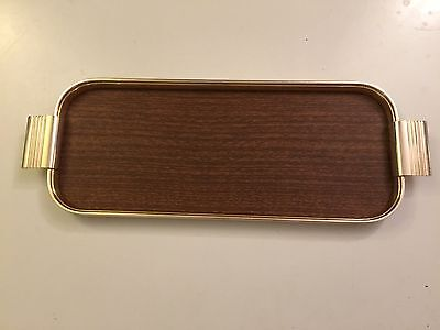 Vintage 1960's Woodmet Cocktail Tray gold metal and wood effect base