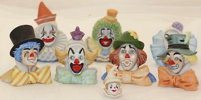 Reco Clown Collection 8 Porcelain Figurines 1984 McClelland Hand Painted Collect