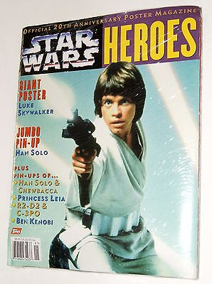 3 Sealed STAR WARS Magazines - 20TH Anniversary + VILLAINS + HEROES Posters