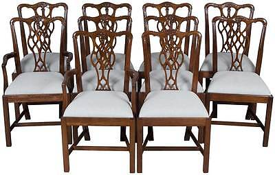 Set of Ten Carved Solid Mahogany Antique Style Chippendale Dining Room Chairs