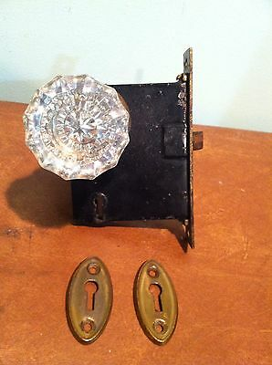 Antique Vintage Mortise Lock Door Latch Two Glass Knobs and Brass Hardware