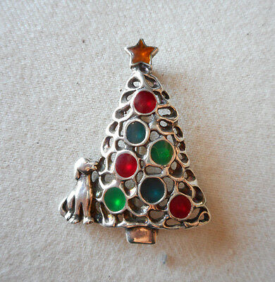 Jezlaine Christmas Sterling Silver Decorated Christmas Tree & Dog Brooch  060905