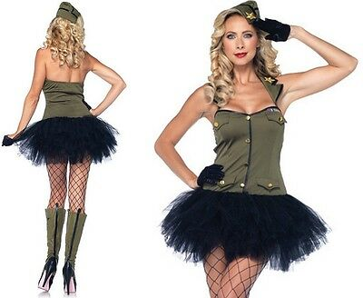 USO Girl Costume, Leg Avenue, Army, Military, Sargent, Camo Squaddie, World War