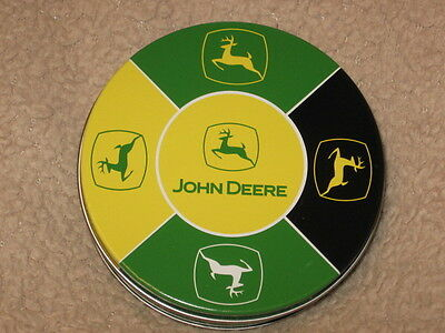 John Deere Coasters/ one set of 5 plus container
